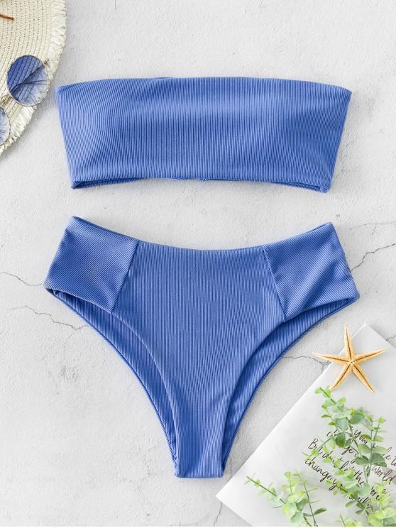 lady ZAFUL Ribbed Lace Up High Leg Bandeau Bikini Swimsuit - OCEAN BLUE L