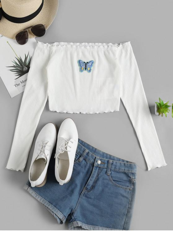 lady ZAFUL Off Shoulder Lettuce Butterfly Ribbed Tee - WHITE L