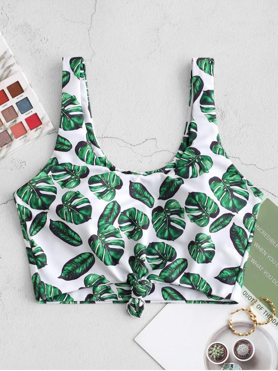 womens ZAFUL Palm Leaf Knot Cropped Bikini Top - JUNGLE GREEN 2XL