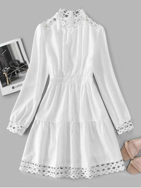 fashion Crochet Trim High Neck Dress - WHITE L