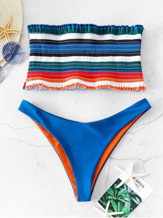 womens ZAFUL Frilled Striped Bandeau Smocked Bikini Swimsuit - BLUE L