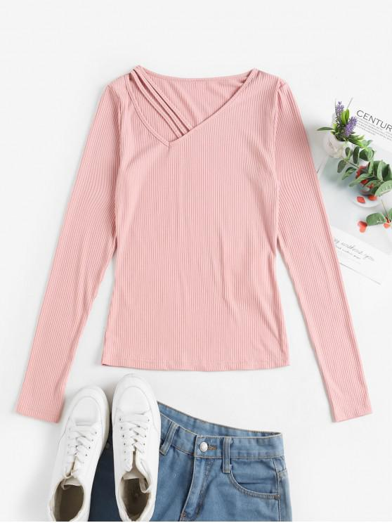 new ZAFUL V Neck Ribbed Solid Tee - PINK ROSE S