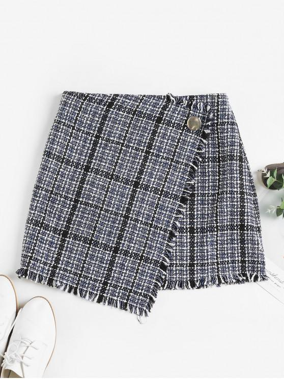 outfit ZAFUL Tweed Faux Wrap Skirt - MULTI-D XL