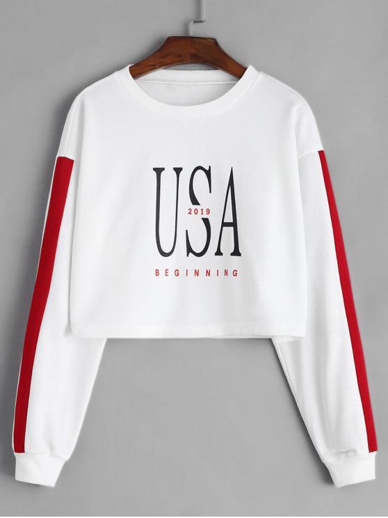 unique ZAFUL Letter Drop Shoulder Crop Sweatshirt - WHITE XL
