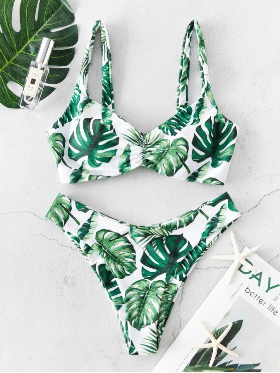 ZAFUL Palm ritorto increspato Alta Leg Bikini - Multi Colori-A L