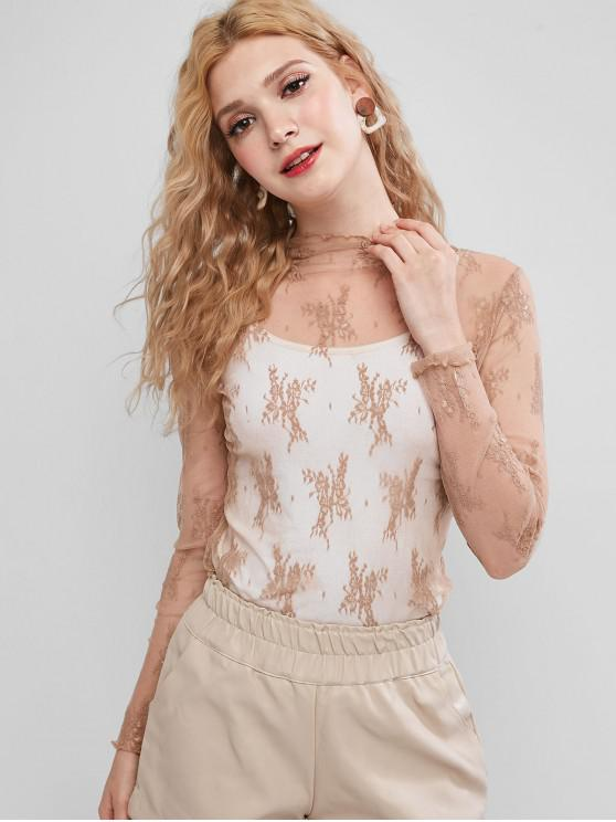 hot Sheer Floral Lace Top - TAN ONE SIZE