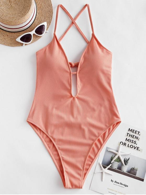 lady ZAFUL Ribbed Criss Cross High Cut One-piece Swimsuit - ORANGE PINK M