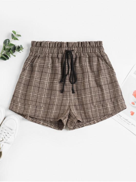 outfit ZAFUL Plaid Drawstring Pocket Ruffle Wide Leg Shorts - MULTI-A XL
