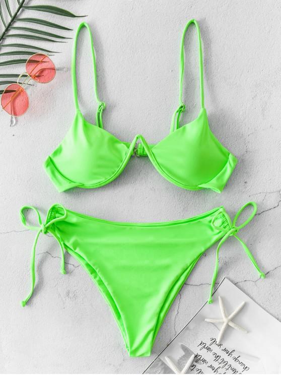 ZAFUL النيون Cinched التعادل السامي قص بيكيني ملابس السباحة - أخضر S