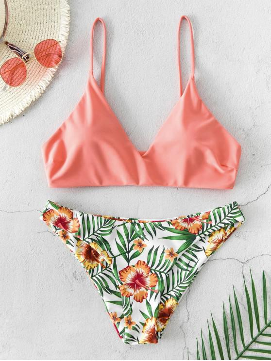 ZAFUL الزهور ورقة طباعة بيكيني ملابس السباحة - برتقالي وردي S