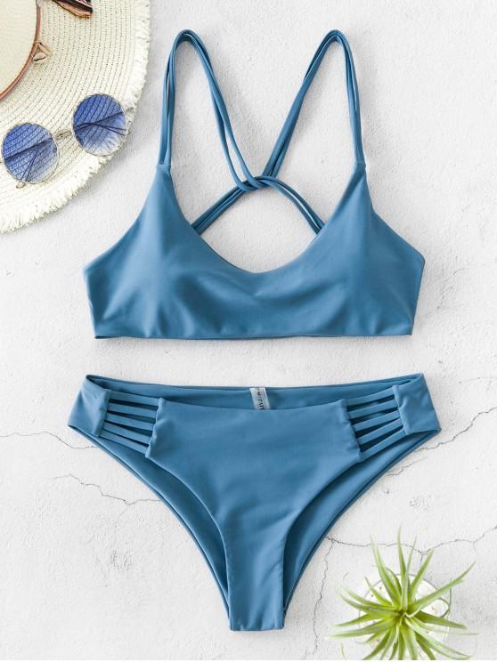 ZAFUL تويست Strappy بيكيني ملابس السباحة - بلو كوي S