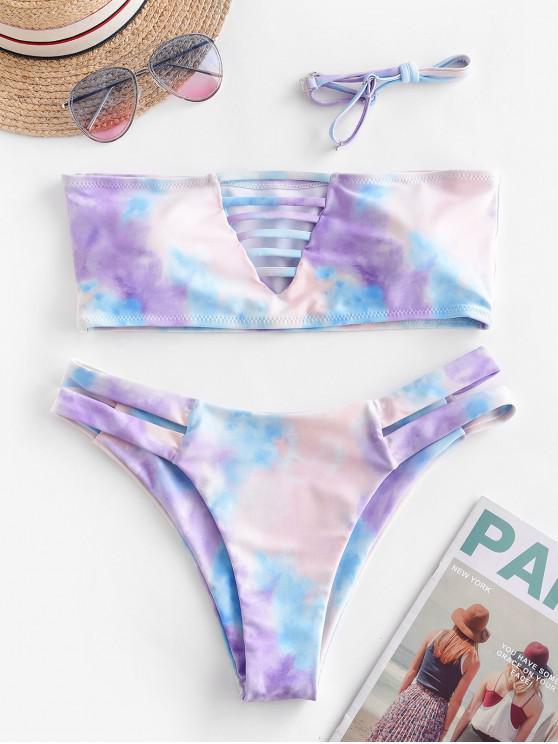 unique ZAFUL Ladder Cutout Tie Dye Bandeau Bikini Swimsuit - MULTI-A M