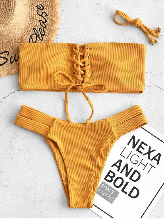 best ZAFUL Ribbed Bandeau Lace Up Bikini Swimsuit - SANDY BROWN M