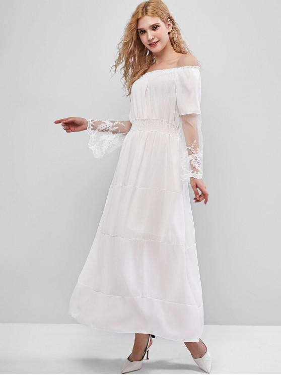 ladies Off Shoulder Leaf Embroidered Lace Panel Smocked Dress - WHITE S