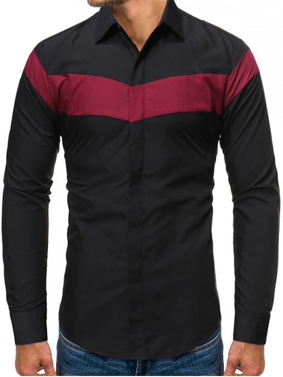 buy Color Blocking Long-sleeved Button Shirt - BLACK 2XL