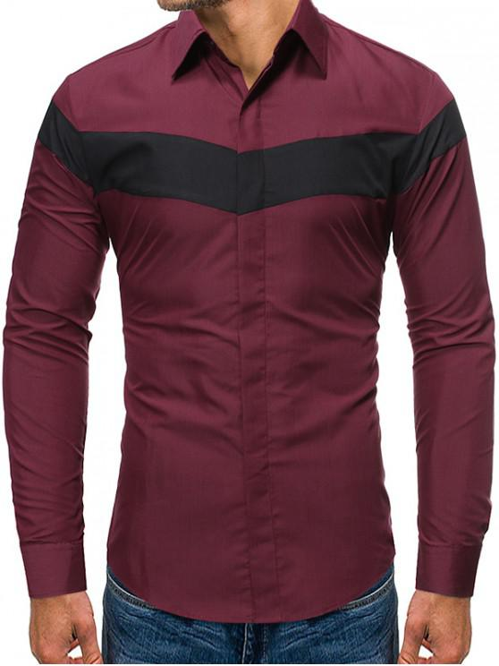 latest Color Blocking Long-sleeved Button Shirt - RED WINE 2XL