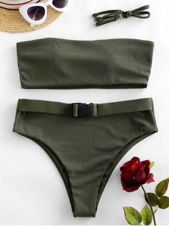 ZAFUL مضلع التوى العصابة بيكيني ملابس السباحة - التمويه الأخضر S