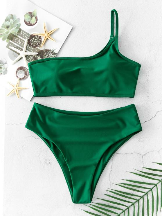 unique ZAFUL One Shoulder High Cut Bikini Swimsuit - MEDIUM SEA GREEN S