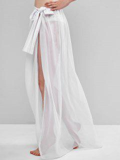 Sheer Tie Maxi Wrap Skirt - White