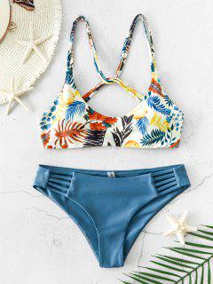 ZAFUL Leaf Print Strappy Bikini Swimsuit - Light Slate Gray M