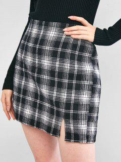 ZAFUL Plaid Slit A Line Skirt - Black M