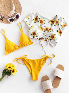ZAFUL Sunflower Floral Tie Cinched Three Piece Swimsuit - Mustard S