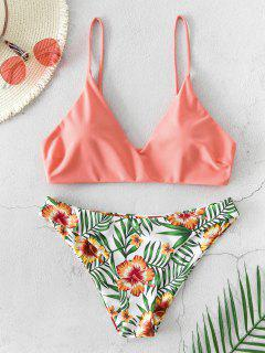 ZAFUL Floral Leaf Print Bikini Swimsuit - Orange Pink S