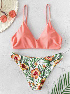 ZAFUL Floral Leaf Print Bikini Swimsuit - Orange Pink M