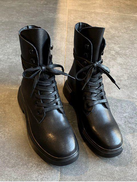 shop Plain Lace Up PU Leather Fleece Boots - BLACK EU 35 Mobile