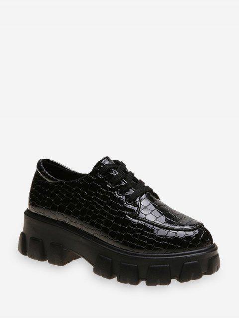 unique Animal Embossed Low Top Platform Boots - BLACK EU 39 Mobile