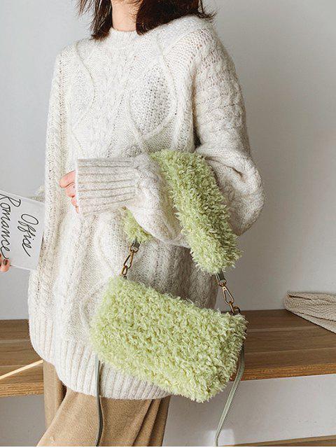 Замша Зимняя Одноцветная Мягкая Сумка через плечо - Салат-зеленый   Mobile