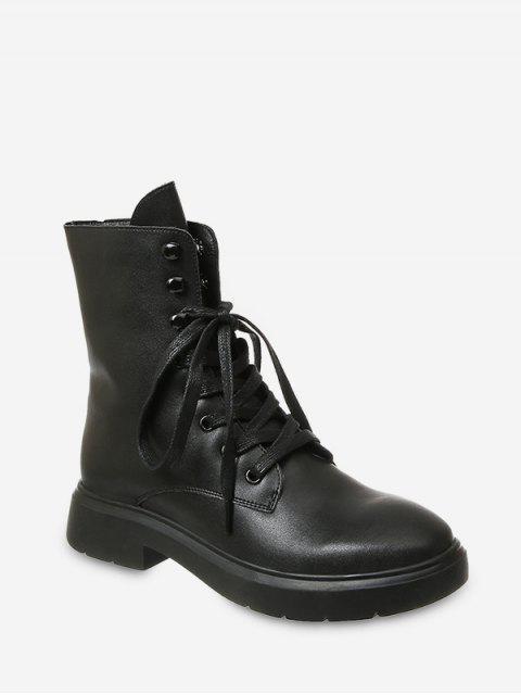 affordable Plain Lace Up PU Leather Fleece Boots - BLACK EU 36 Mobile