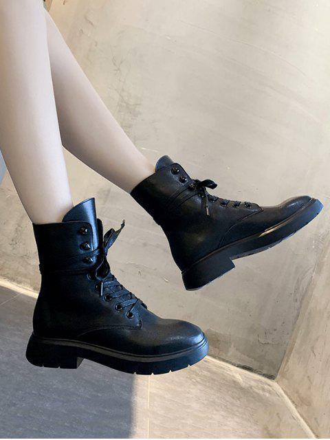 womens Plain Lace Up PU Leather Fleece Boots - BLACK EU 39 Mobile