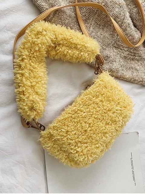 Замша Зимняя Одноцветная Мягкая Сумка через плечо - Кукуруза-желтый  Mobile