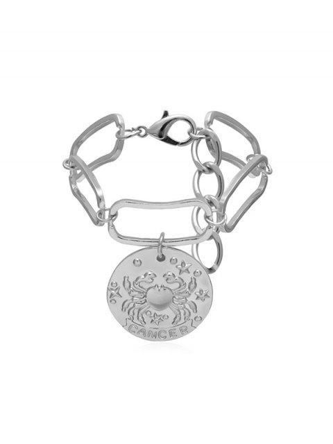 chic Crab Pattern Round Drop Metal Bracelet - SILVER  Mobile
