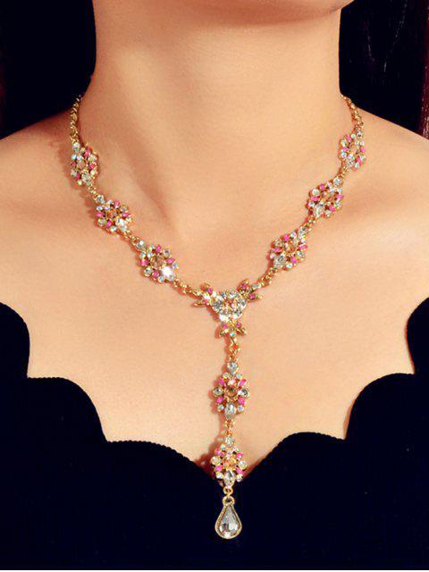 Горный хрусталь Цветок Капля воды С подвеской Ожерелье - Золотой  Mobile