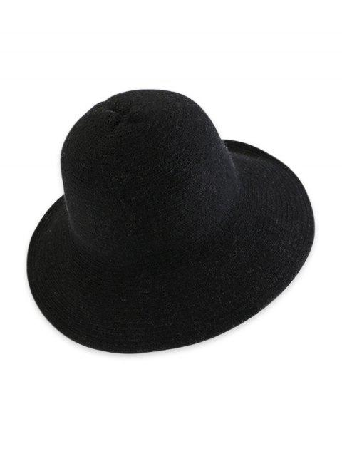 women Solid Knitted Foldable Bucket Hat - BLACK  Mobile