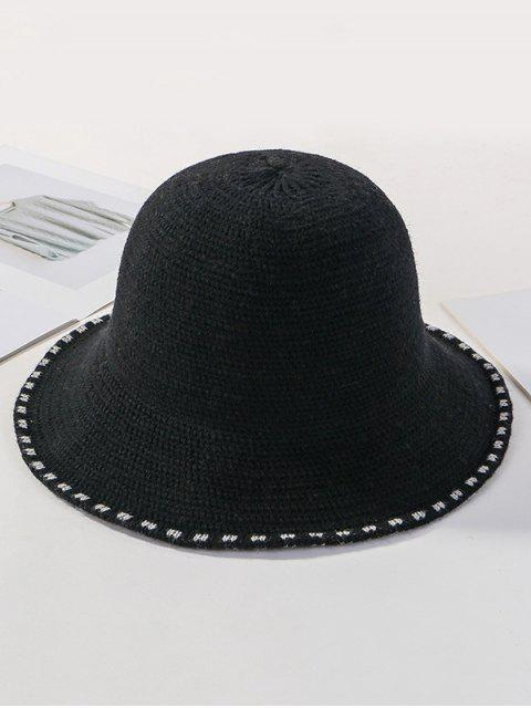 hot Winter Solid Knitted Bucket Hat - BLACK  Mobile