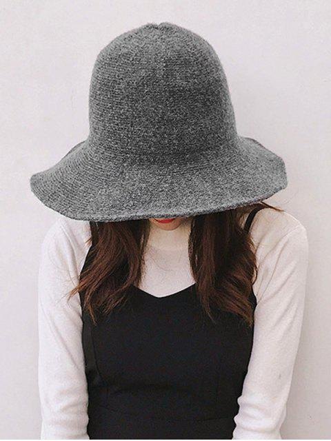 trendy Solid Knitted Foldable Bucket Hat - DARK GRAY  Mobile