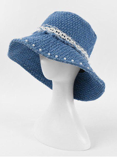 fashion Pearls Floppy Jeans Hat - DEEP BLUE  Mobile