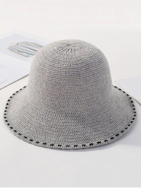 fancy Winter Solid Knitted Bucket Hat - LIGHT GRAY  Mobile