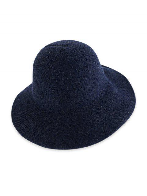 women Solid Knitted Foldable Bucket Hat - CADETBLUE  Mobile