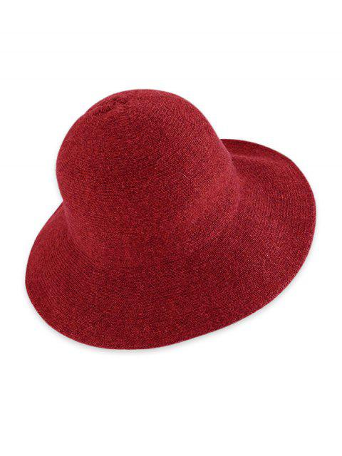 ladies Solid Knitted Foldable Bucket Hat - RED WINE  Mobile