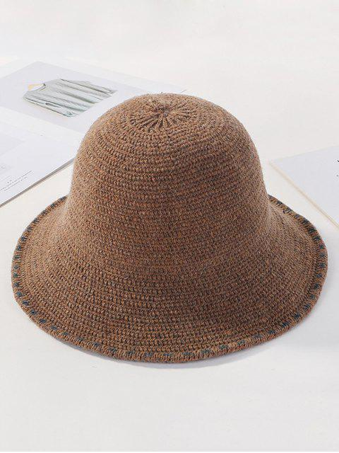 lady Winter Solid Knitted Bucket Hat - KHAKI  Mobile