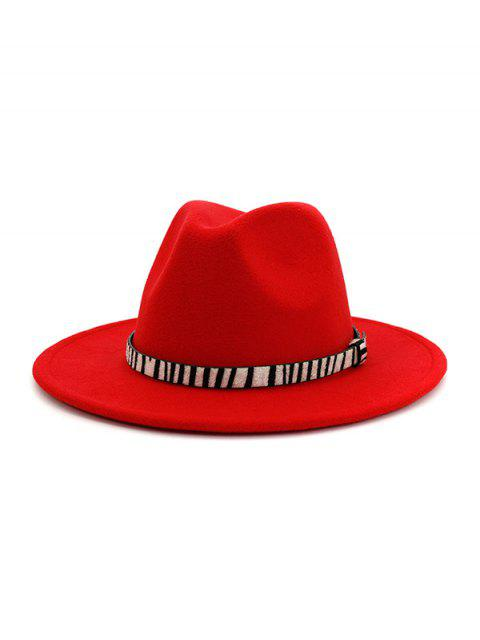 hot Winter Striped Belt Felt Fedoras - RED  Mobile