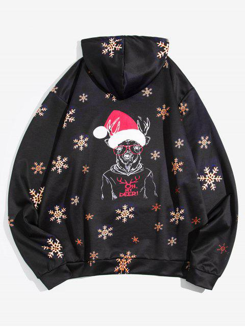 Navidad con capucha del copo de nieve de los ciervos - Negro 3XL Mobile