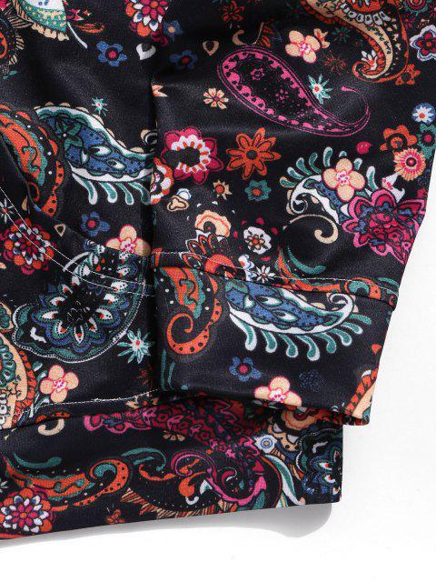 Paisley floral estampado tribal de lazo casual con capucha - Multicolor-B XL Mobile