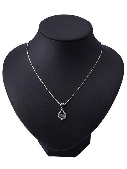 Сердце Капля воды Горный хрусталь Ожерелье - Серебристый  Mobile