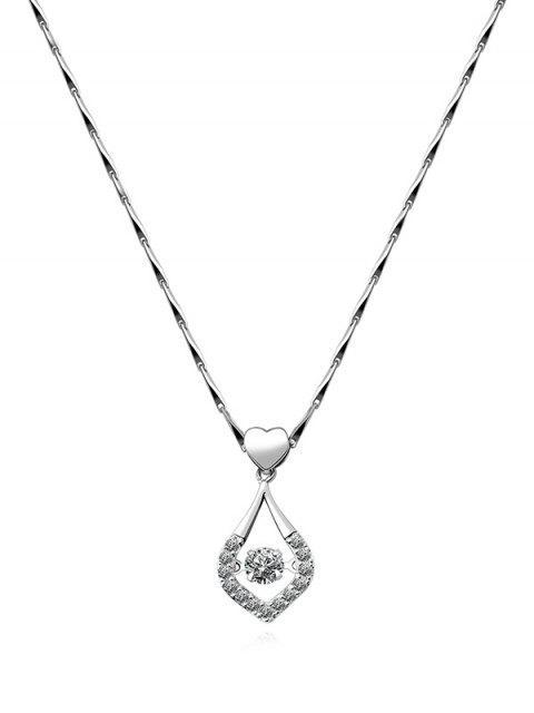 Collar del Rhinestone de la gota del agua del corazón - Plata  Mobile