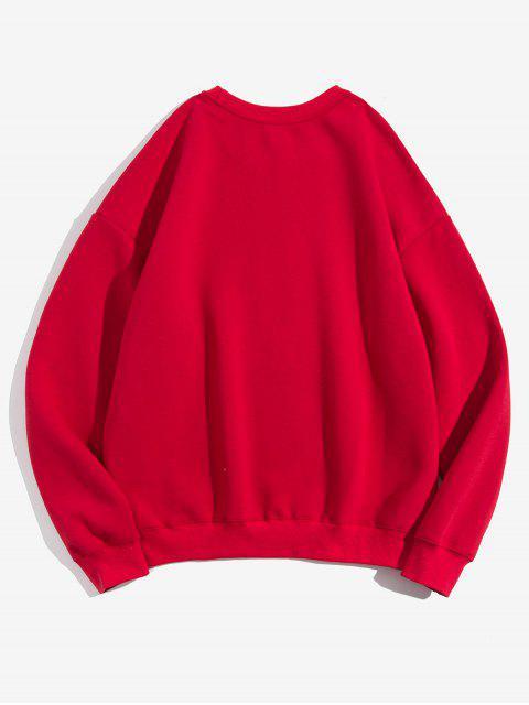 Einfarbige Chinesische Buchstabedruck Vlies Lässiges Sweatshirt - Rot M Mobile